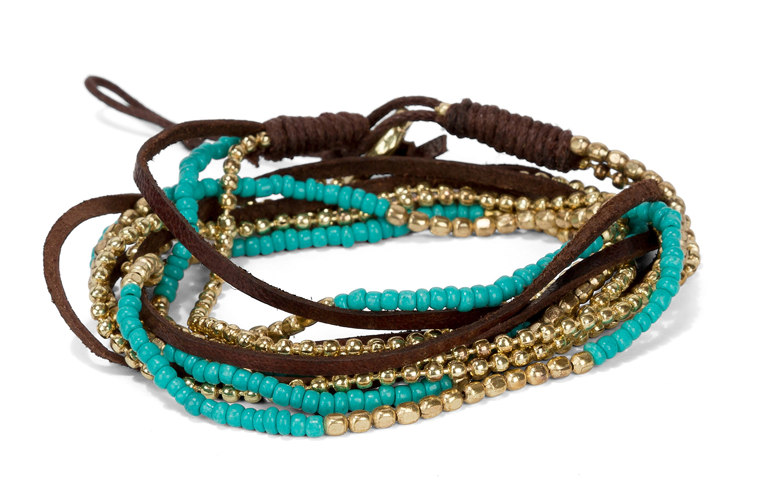 Handmade Boho 4 Wrap Multi Strand Bracelet Teal Gold for Women | SPUNKYsoul Collection by SPUNKYsoul