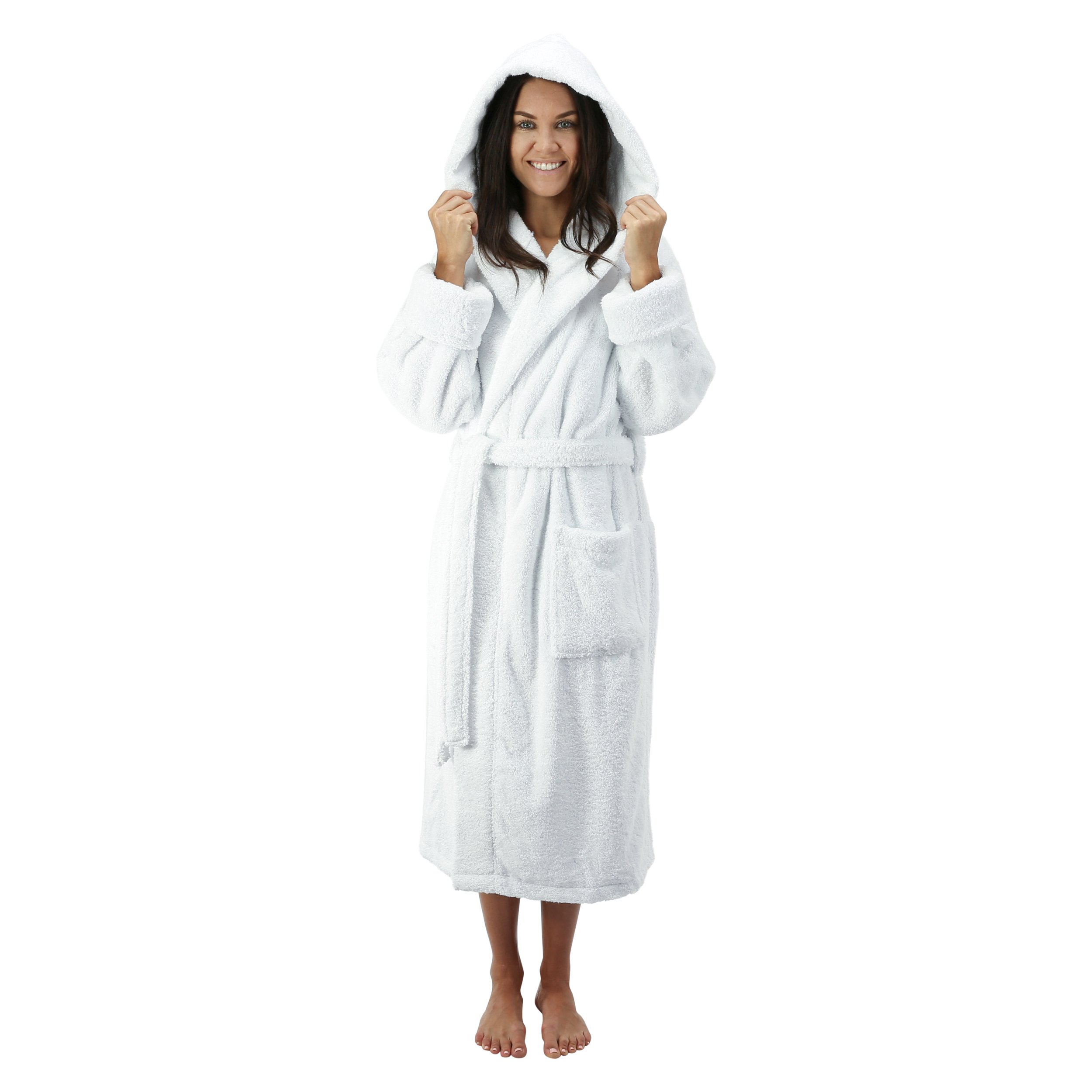 Comfy Robes Personalized Women's Deluxe 20 oz. Turkish Cotton Hooded Bathrobe, XS White by Comfy Robes