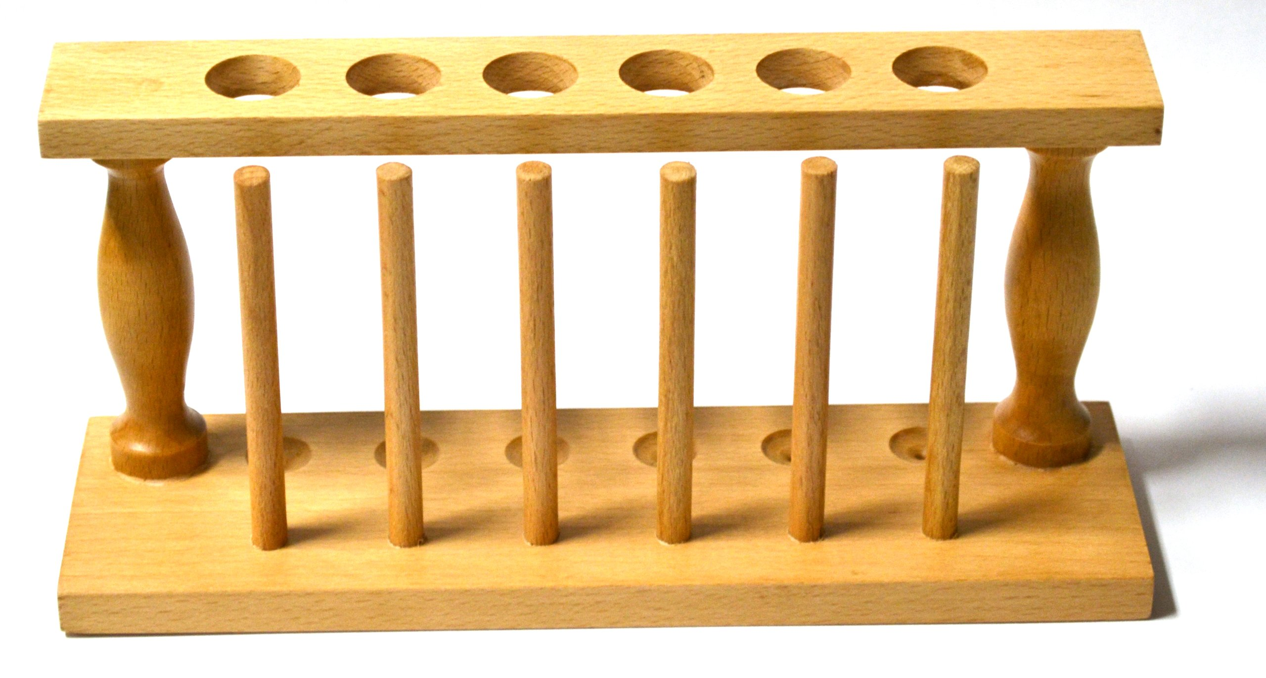 Premium Test Tube Rack, (6) 25mm Holes and (6) Pins - Solid Wood - 9.4'' Long, 3.75'' Tall by EISCO