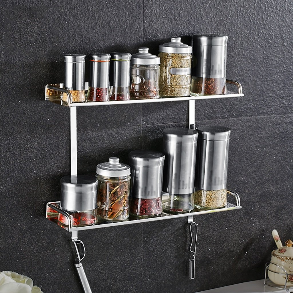 2 tier 500mm RFJJAL 304 Stainless Steel Bathroom Shelf, Kitchen Wall Hanging Seasoning Supplies Silver Storage Rack (color   1 Tier, Size   600mm)