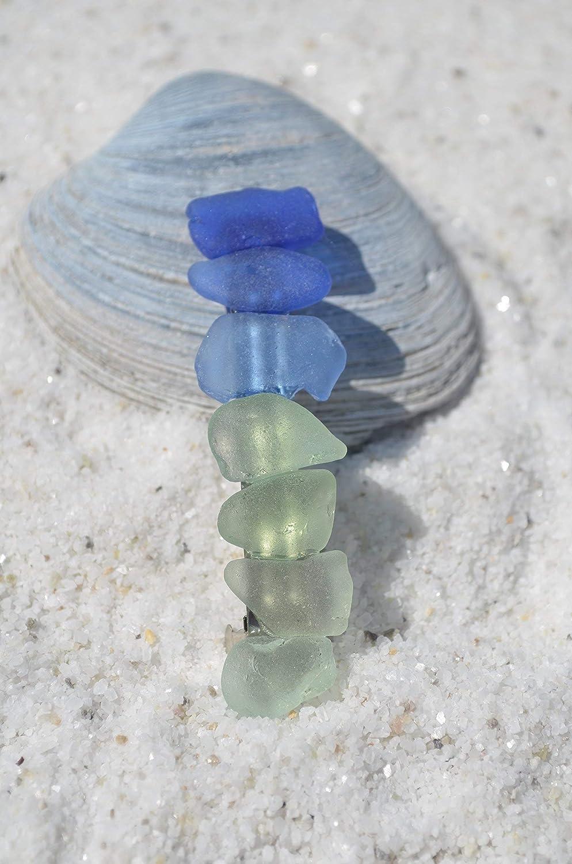 Genuine Rainbow of Blues and Aqua Sea Glass French Barrette Hair Clip