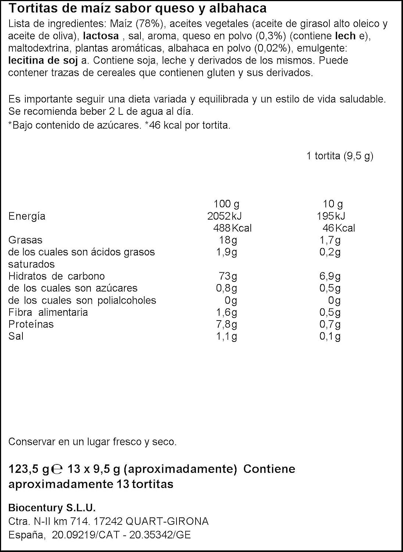 Bicentury Tortitas Maíz Queso y Albahaca Nackis - 123.5 g: Amazon.es: Amazon Pantry
