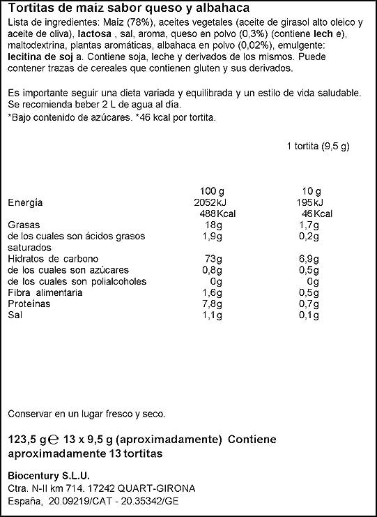 Bicentury - Tortitas Maíz Queso Y Albahaca Nackis - 123.5 g: Amazon.es: Alimentación y bebidas