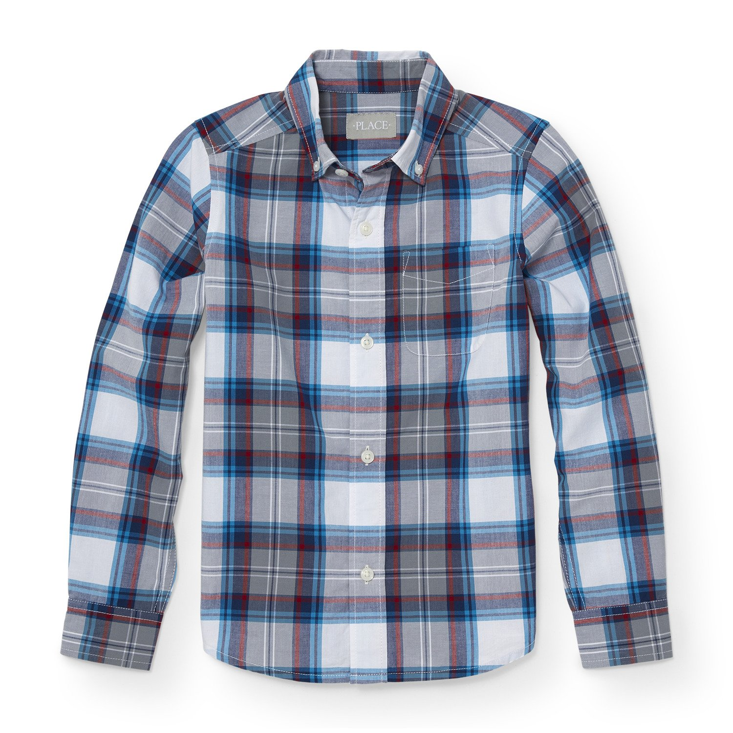 The Children's Place Big Boys' Gray Poplin Plaid Top, Fin Gray 88196, S (5/6)
