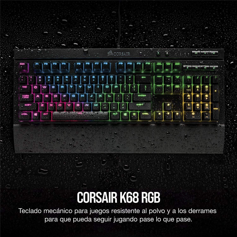Corsair K68 RGB Teclado mecánico Gaming retroiluminación multicolor RGB, resistente al polvo ya las salpicaduras, QWERTY Español,Cherry MX Red (Suave ...