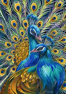 Toland Home Garden 1112317 Pair of Peacocks 12.5 x 18 Inch Decorative, Colorful Feathers, Garden Flag
