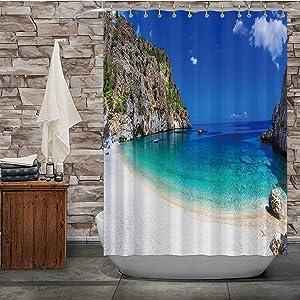 Tstyrea Most Beautiful Beaches of Greece Achata,Fabric Shower Curtain in Karpathos Island for Bathroom Decor 84X72in