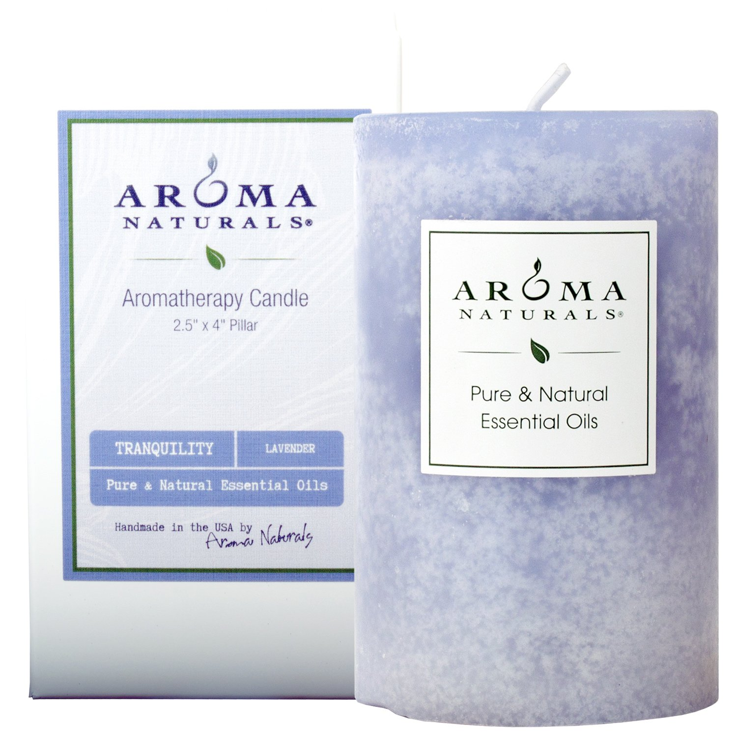 Aroma Naturals Essential Oil Tranquility Pillar Candle, 2.5'' x 4'', Lavender, 11 Ounce by Aroma Naturals