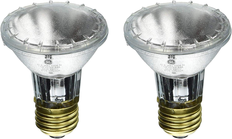 GE Lighting 38 Watt PAR20 Halogen Indoor Spotlight, 2850K, 490 Lumens, E26 Medium Base, 10 Degree Beam Angle, 2 Pack