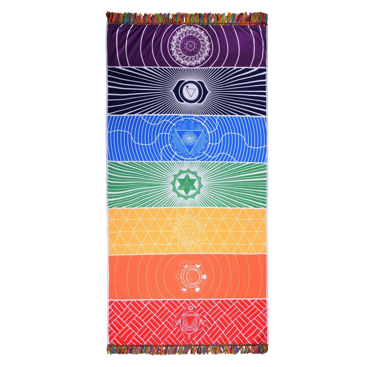 JOVIVI Rainbow 7 Chakra Print Meditation Mandara Yoga Mat Beach Bath Towel Picnic Blanket Tapestry Bedroom Carpet,75X150cm