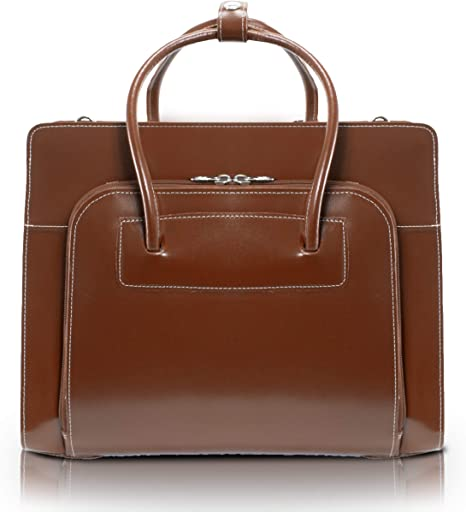 Top Grain Cowhide Leather 15 Ladies Laptop Briefcase Green McKlein Lake Forest