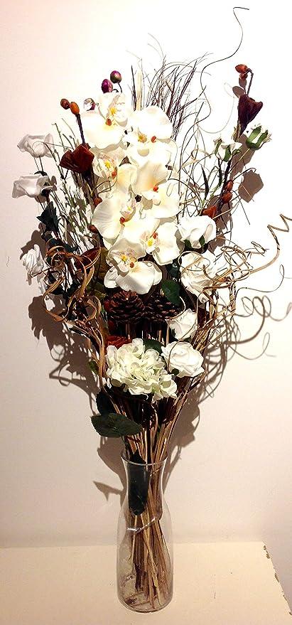 Unique Design Cream Artificial Orchid And Dried Flower Bouquet 85 Cm Tall No Vase Amazon Co Uk Kitchen Home