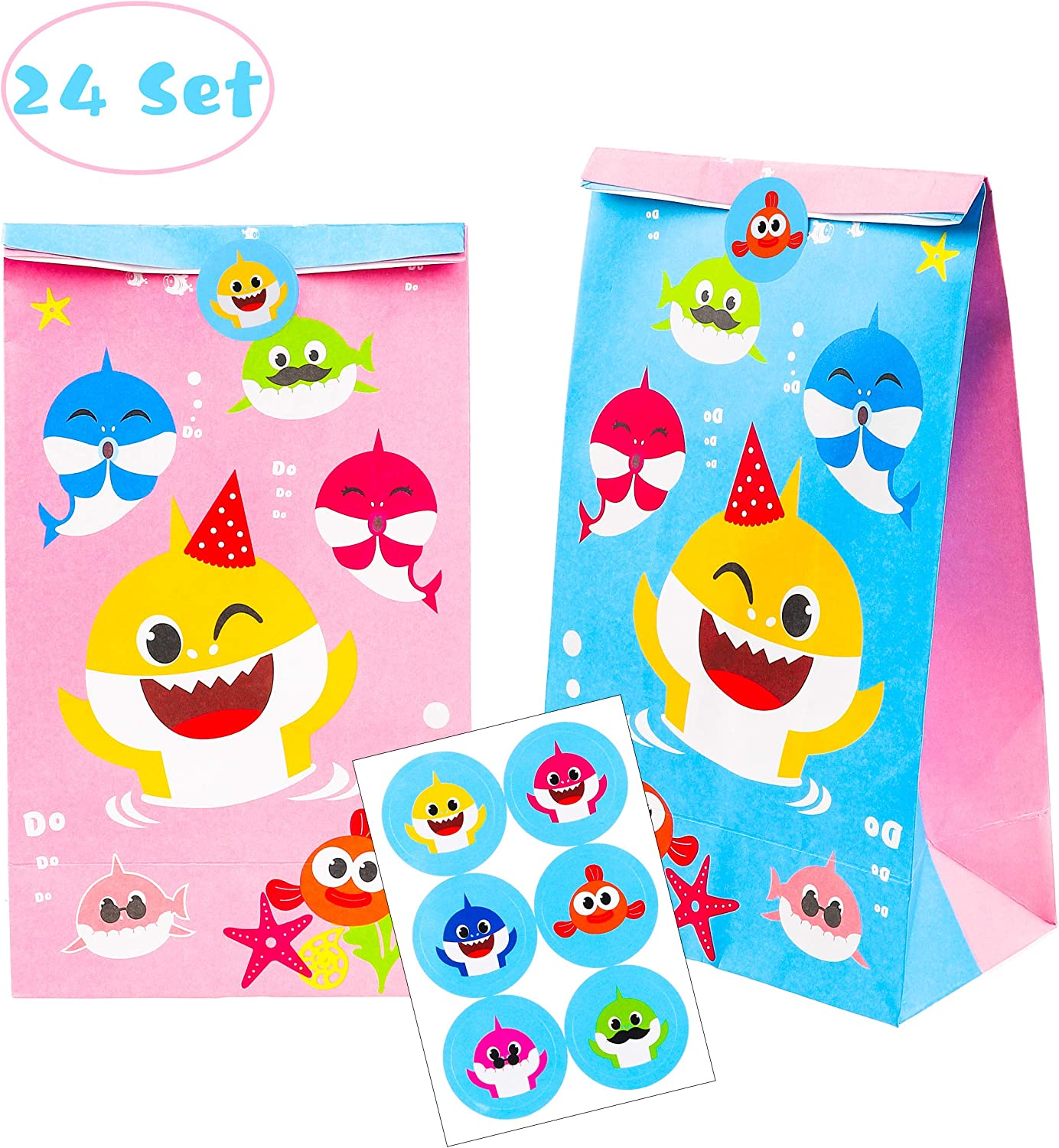 MALLMALL6 Little Shark Candy Treat Bags 24Pcs Birthday Party Shark Family Baby Shower Goodie Bags Candy Favor Bags Shark Themed Party Dessert Paper Bags with Thank You Stickers for Kids