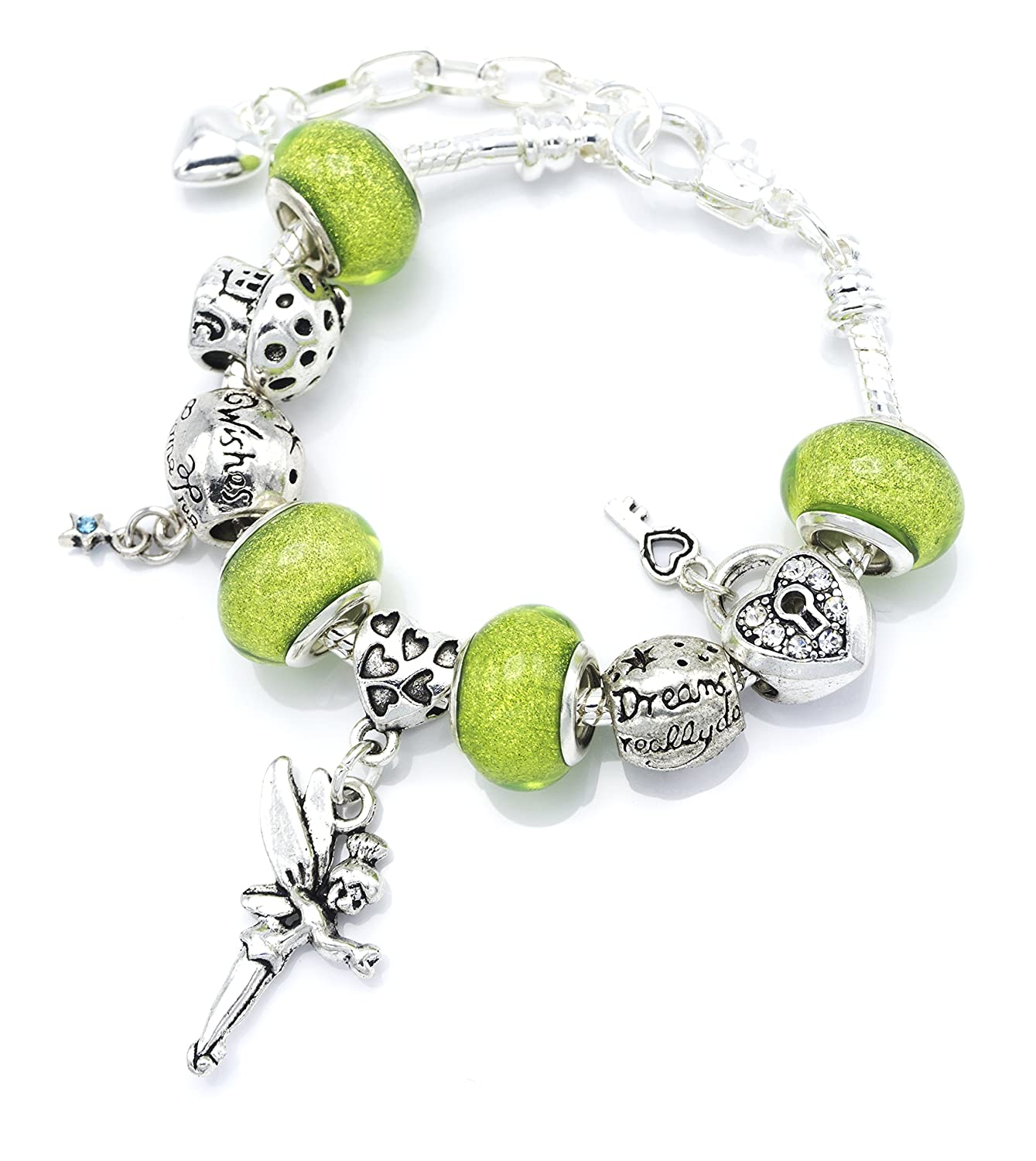 'Tinkerbell' Fairy Themed Charm Bracelet with Gift Box Girls Jewellery Jewellery Hut BRTINKERBELL