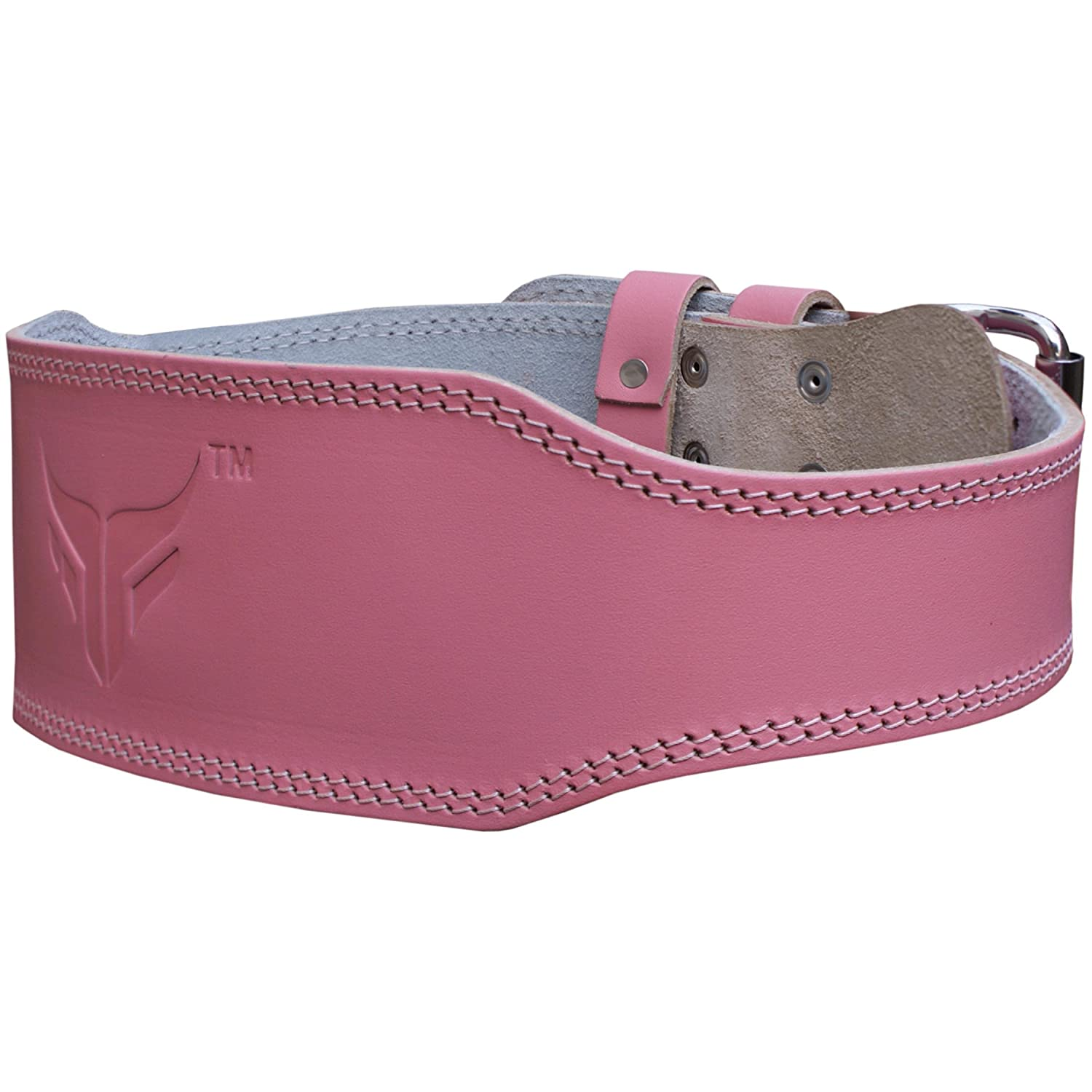 Mytra Fusion 4 Inch Leather Weight Lifting Belt Pink Farabi Sports