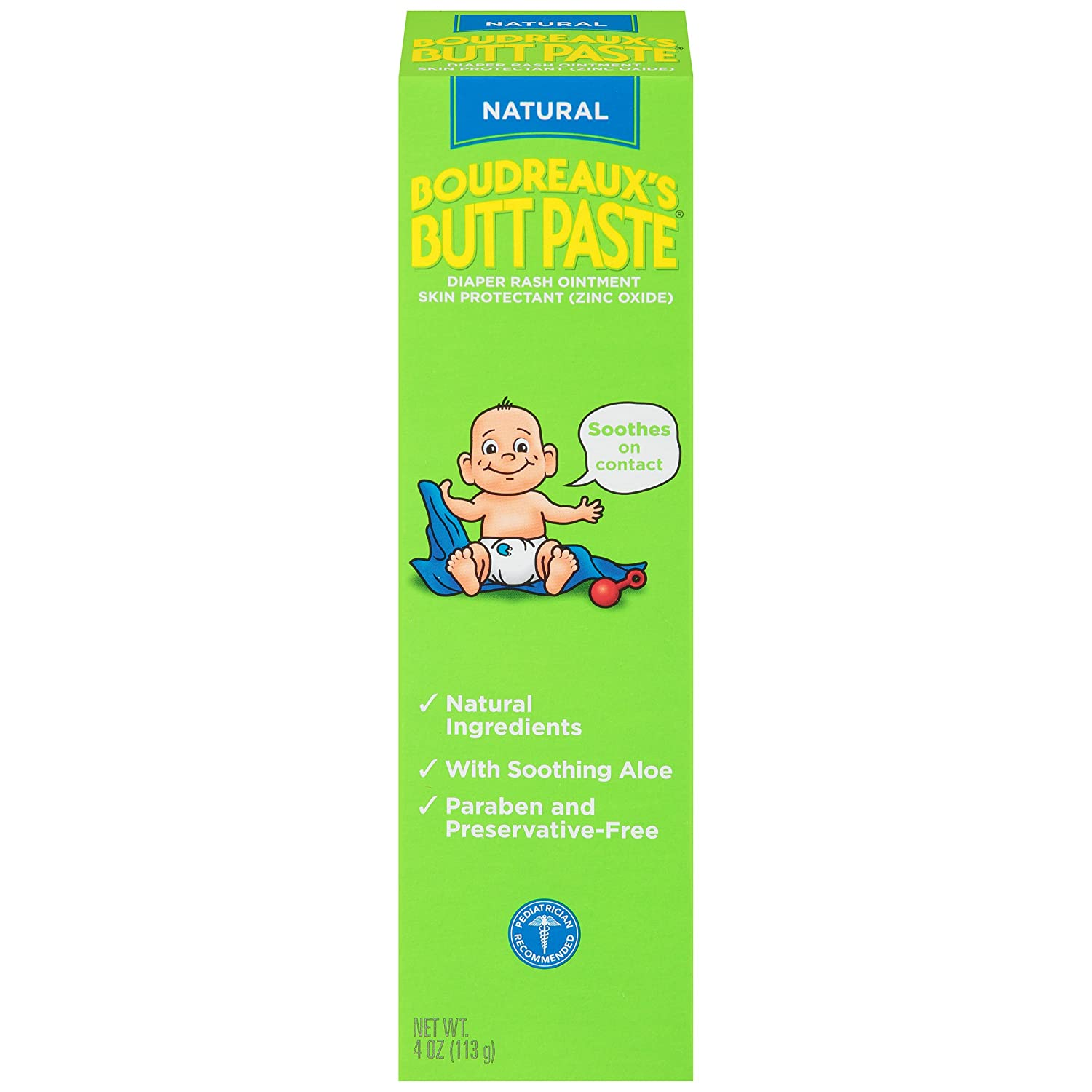 Boudreaux's Butt Paste Diaper Rash Ointment, Natural, 4 Ounce