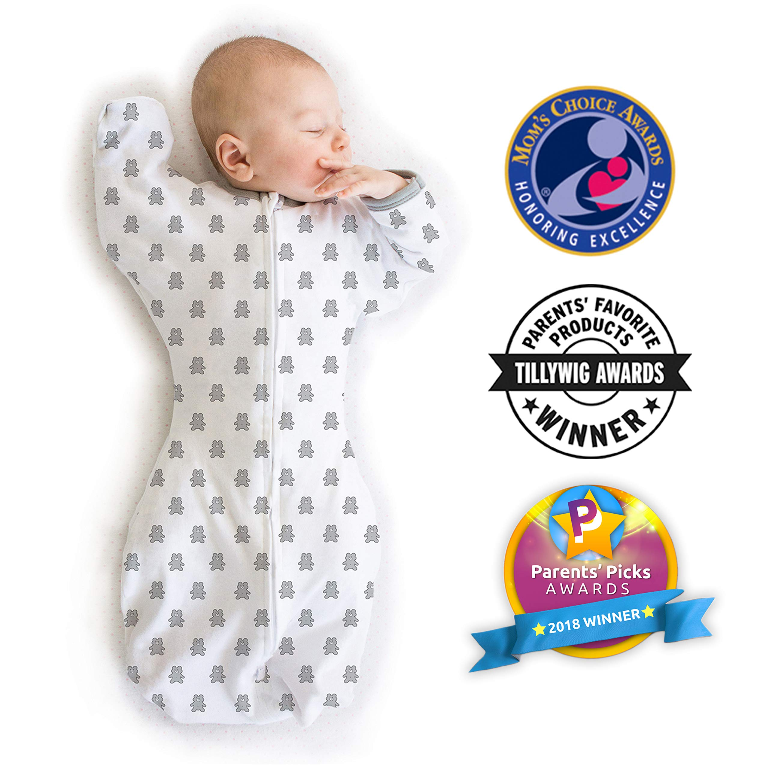Amazing Baby Transitional Swaddle Sack with Arms Up Mitten Cuffs, Tiny Bear, Sterling, Medium, 3-6 Months (Parents' Picks Award Winner) by Amazing Baby