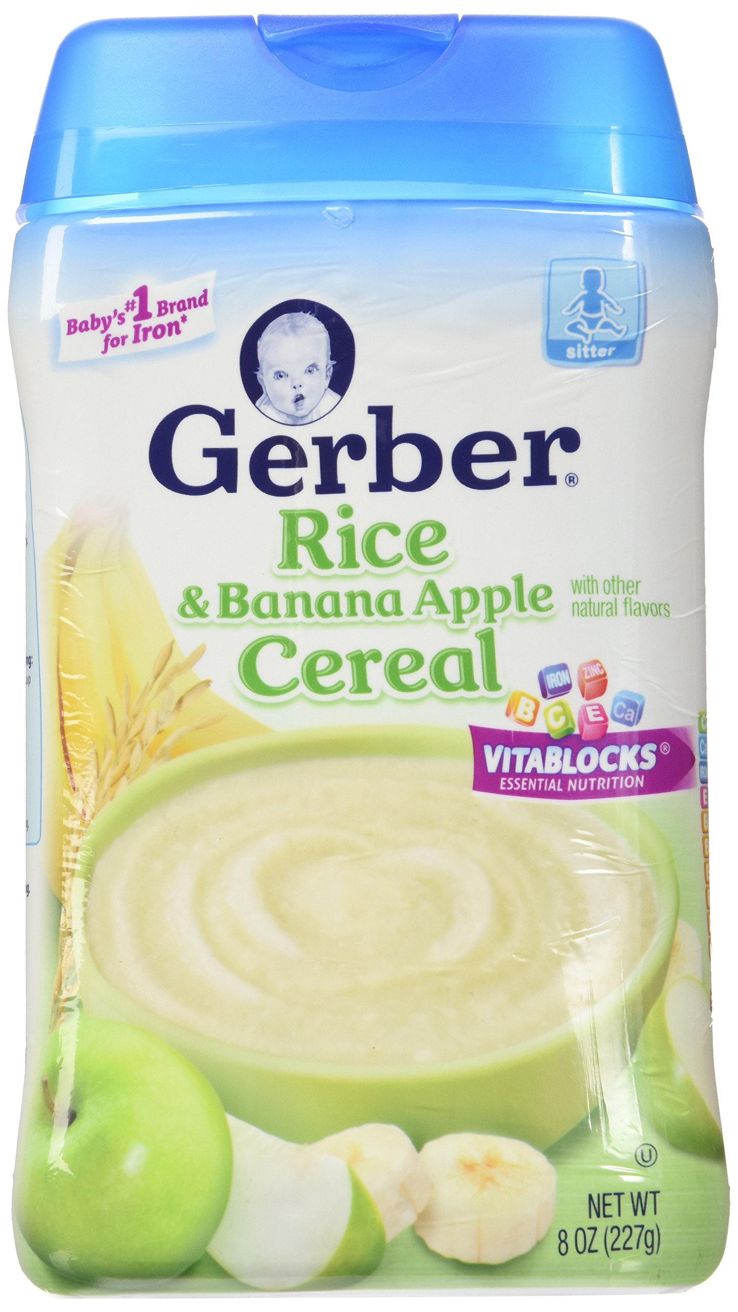 Gerber RICE & BANANA APPLE CEREAL 8oz. (Pack of 4)