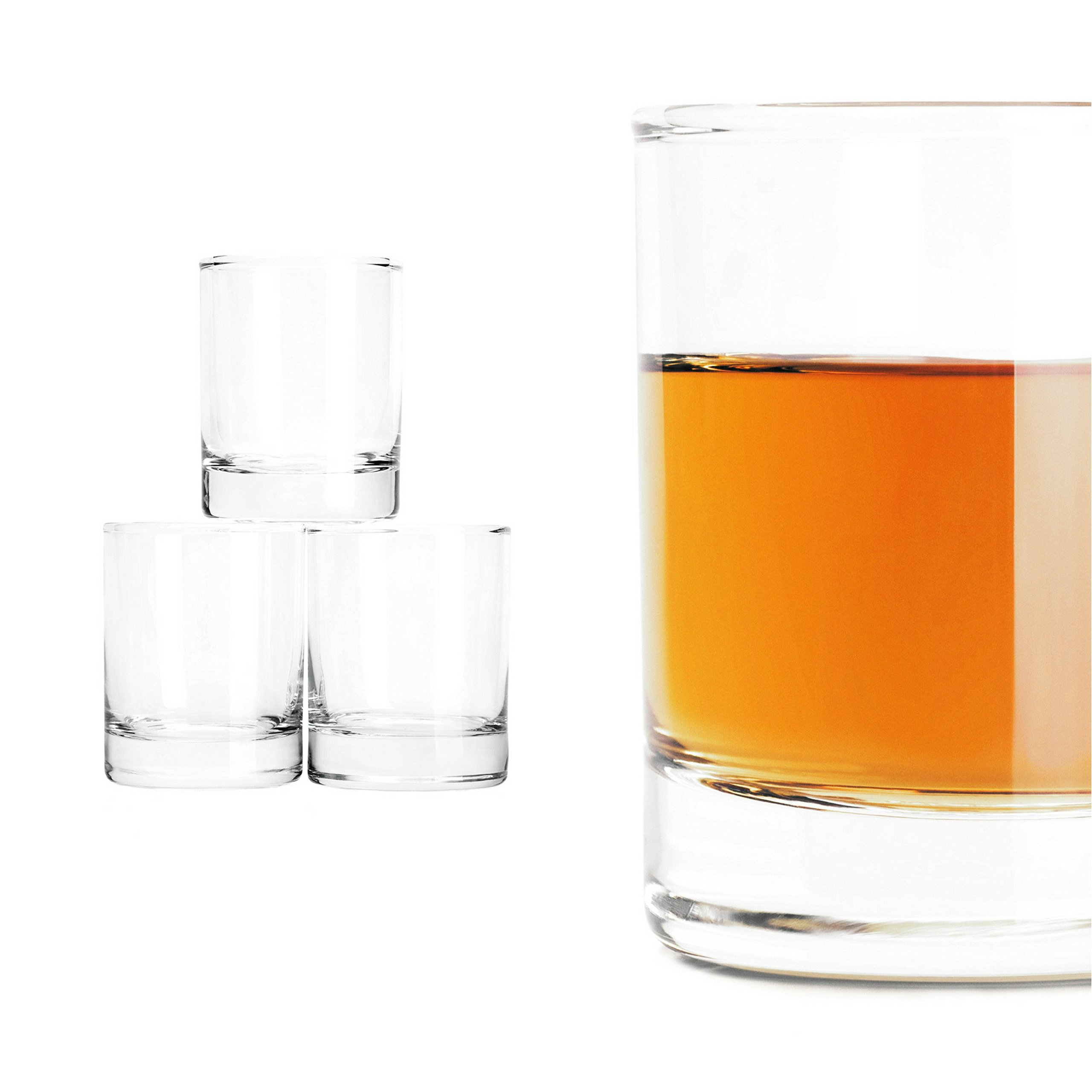 Shot Glasses from Taylor'd Milestones - Classic 3.5 oz Shooter Glass with Heavy Base. Gift Set of 4 for Whiskey, Tequila, Espresso, Vodka, Shooters, Liqueur Tasting, Candles & Desserts.