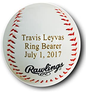 Amazon gp personalized baseball gifts engraved ring bearer custom customized personalized synthetic leather baseball gift your message engraved negle Images