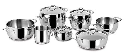 Cucina: Stoviglie E Accessori Lagostina Batteria Pentole Sfiziosa Acciaio 13 Pezzi Fondo Lagoseal®plus
