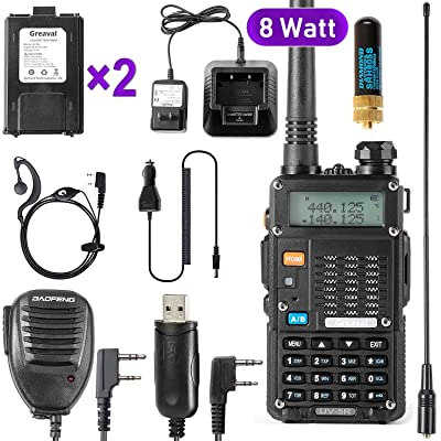 Ham Radio Walkie Talkie (UV-5R 8-Watt) UHF VHF Dual Band 2-Way Radio with 2 Rechargeable 2100mAh Battery Handheld Walkie Talkies Complete Set with Earpiece and Programming Cable: Car Electronics