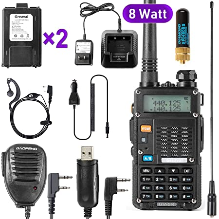 Ham Radio Walkie Talkie UV-5R 8-Watt UHF VHF Dual Band 2-Way Radio with 2 Rechargeable 2100mAh Battery Handheld Walkie Talkies Complete Set with Earpiece and Programming Cable