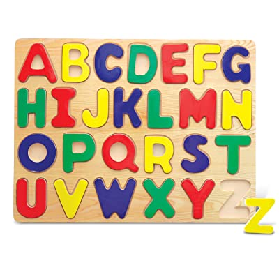 Puzzled Alphabet Raised Wooden Puzzle for Children: Toys & Games