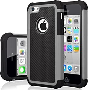 iPhone 5C Case, iPhone 5C Cover, Jeylly Shock Absorbing Hard Plastic Outer + Rubber Silicone Inner Scratch Defender Bumper Rugged Hard Case Cover for iPhone 5C - Grey