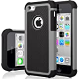 iPhone 5C Case, iPhone 5C Cover, Jeylly Shock Absorbing Hard Plastic Outer + Rubber Silicone Inner Scratch Defender Bumper Ru