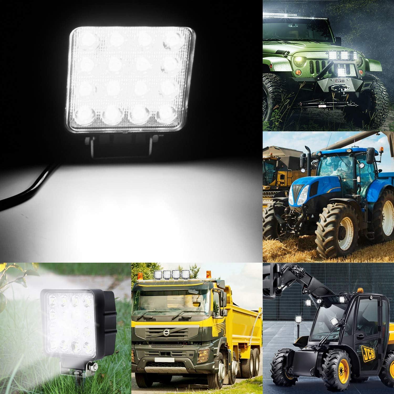 Hengda 10 X 48W 6500k Spotlight Work Light LED Square 12V 24V LED Motorcycle Spot Additional Lights Offroad Front Lamp Fog Lights for Tractor SUV ATV Truck