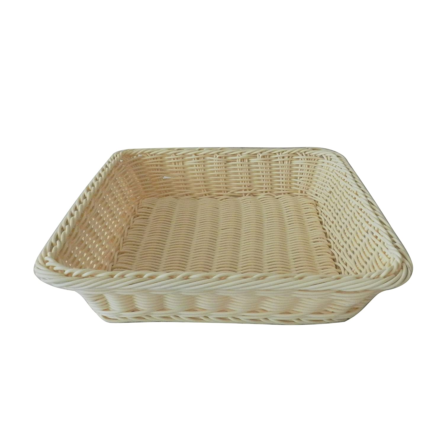CVHOMEDECO. Square Imitation Rattan Bread Basket Fruit Display Basket Food Serving Basket Resin Wicker Supermarket Showcase. Pale Yellow. 12