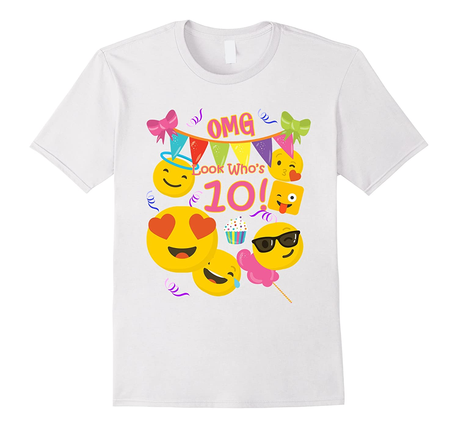 Kids 10 Year Old Girl Emoji Birthday Shirt Look Whos RT