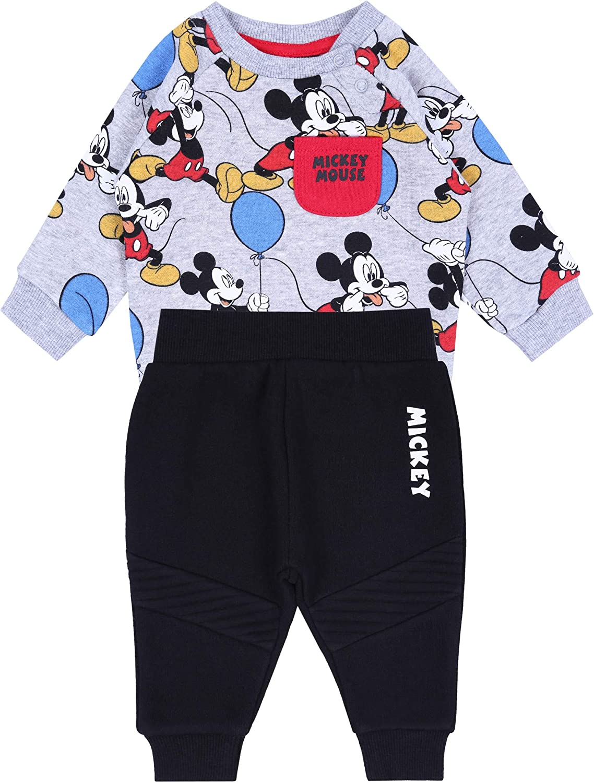 Grey Sweatshirt /& Black Joggers Set Mickey Mouse /& Friends Disney Boys Tracksuit