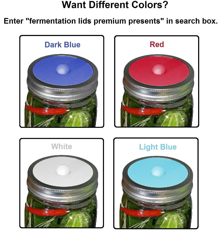 Mantenimiento libre silicona de bloqueo de aire Tapas para boca ancha botellas de fermentación Mason tarros, moho libre de BPA, apto para lavavajillas.