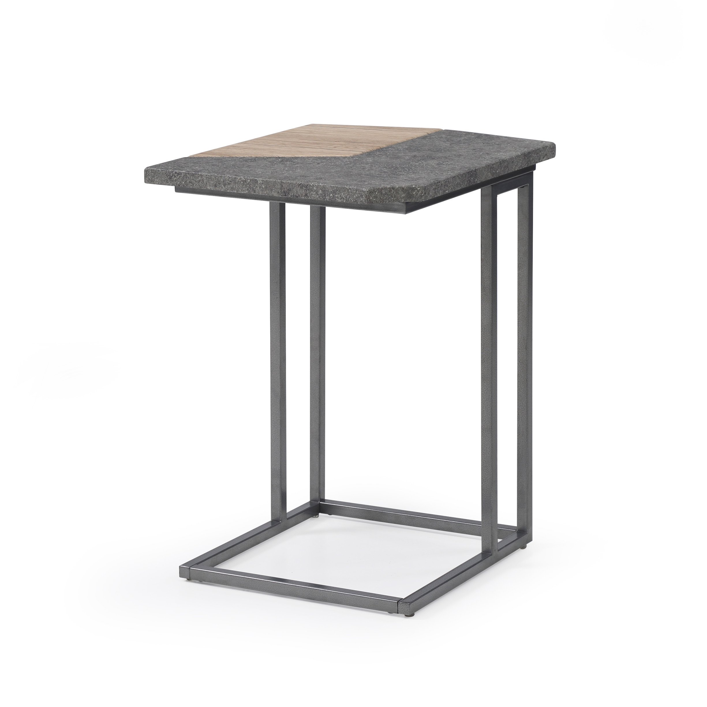 Artum Hill TA3-824 Tyler Laptop Table With Concrete-Look Top And Metal Base,rustic buff