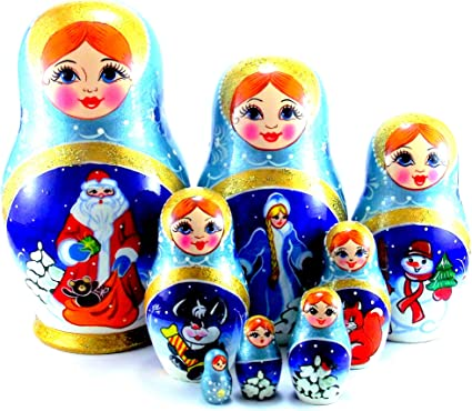 Set of 10 Creative Original Blank Unpainted Wooden Russian Nesting Dolls Matryoshka Kids Drawing Toys Christmas Birthday New Year Gifts