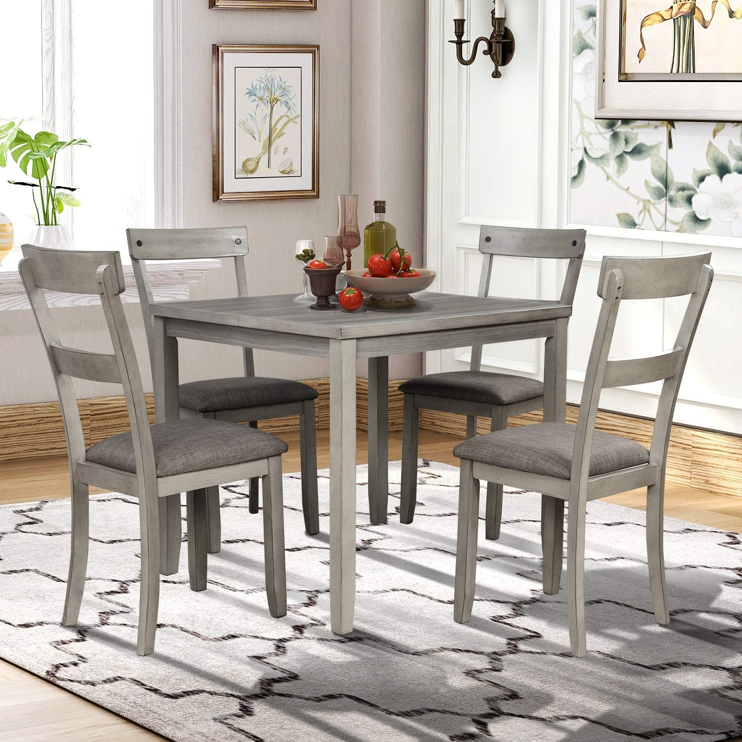Amazon Com P Purlove 5 Piece Dining Table Set Industrial Wood Kitchen Table And 4 Padded Chairs 5 Piece Dining Room Set For Small Place Kitchen Dining Room Light Gray Table Chair Sets