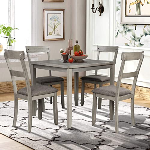 5 Piece Dining Table Set Industrial Wooden Kitchen Table and 4 Chair