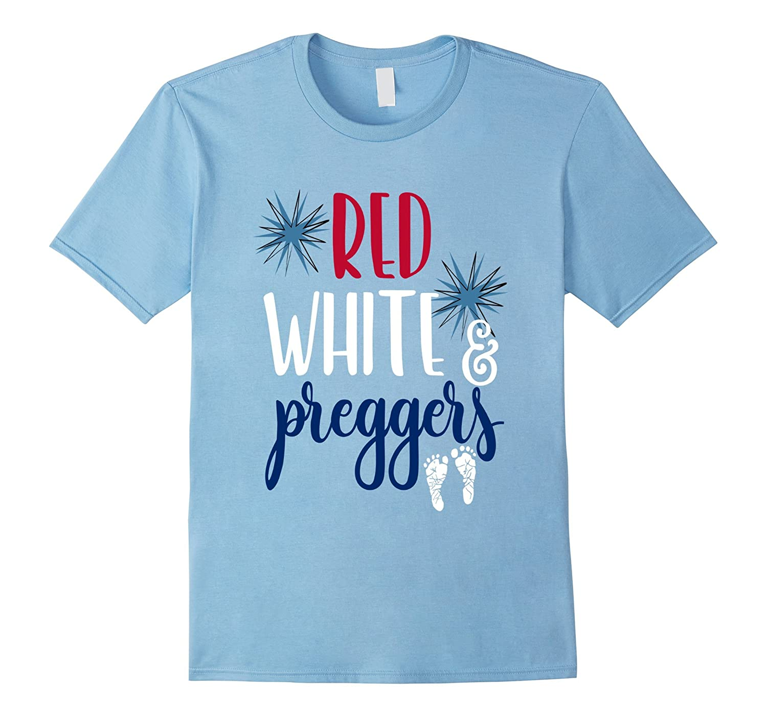 4th of July Maternity Shirt Pregnant Red White  Preggers-PL