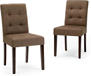 Simpli Home Andover Contemporary Dining Chair (Set of 2) in Brown Linen Look Fabric
