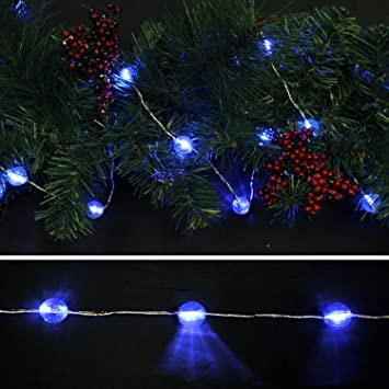 Starlite Creations Battery Operated LED Metallic Jewel Garland 9 ft 27 LEDs Blue & Amazon.com: Starlite Creations Battery Operated LED Metallic Jewel ...