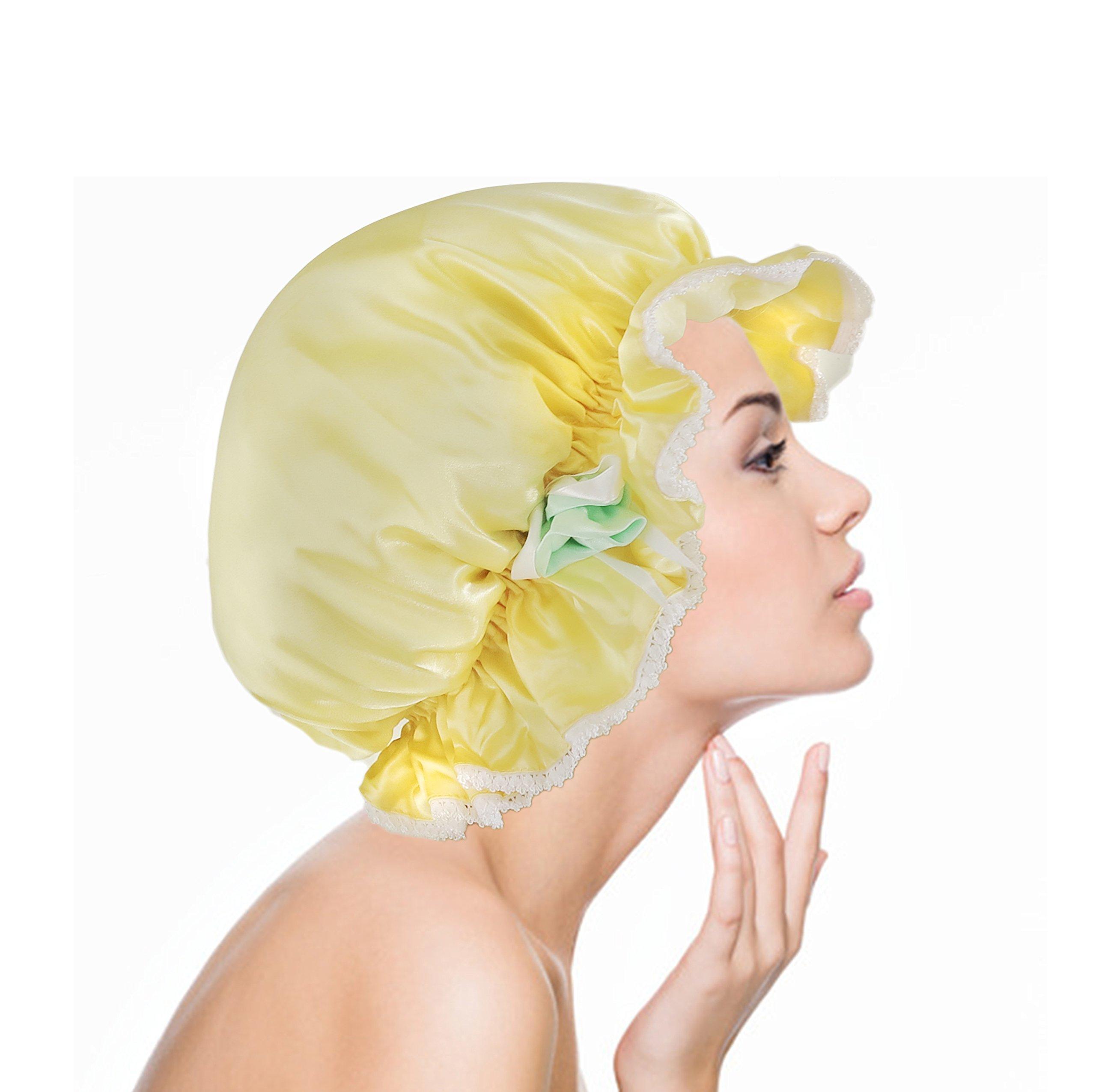 Luxurious Silk Shower Cap waterproof Cap HandCrafted By Vangobeauty Bright Yellow