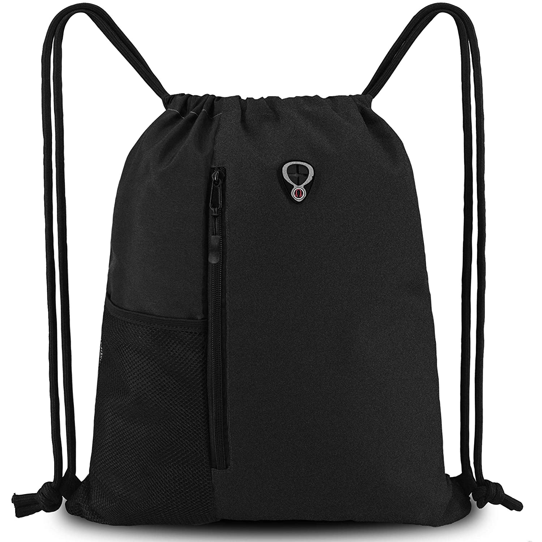 de873235c34b Drawstring Backpack Sports Gym Bag for Women Men Children Large Size with  Zipper and Water Bottle Mesh Pockets