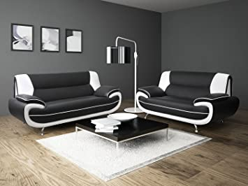 Delicieux Passero 3+2 Seater Black White Faux Leather Sofa Suite Settee Couch