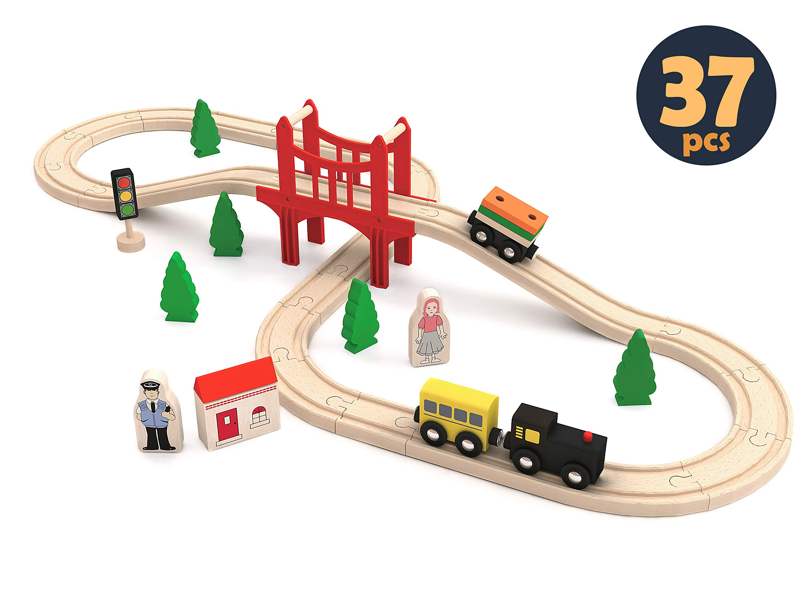 Wooden Train Set Toddler, Toy Tracks, Engine, Passenger Car (37-Piece Play Kit) Kids Friendly Building & Construction | Expandable, Changeable | Fun Girls & Boys