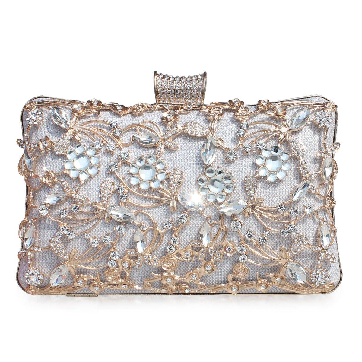 GESU Large Womens Crystal Evening Clutch Bag Wedding Purse Bridal Prom Handbag Party Bag.(Silver-1)