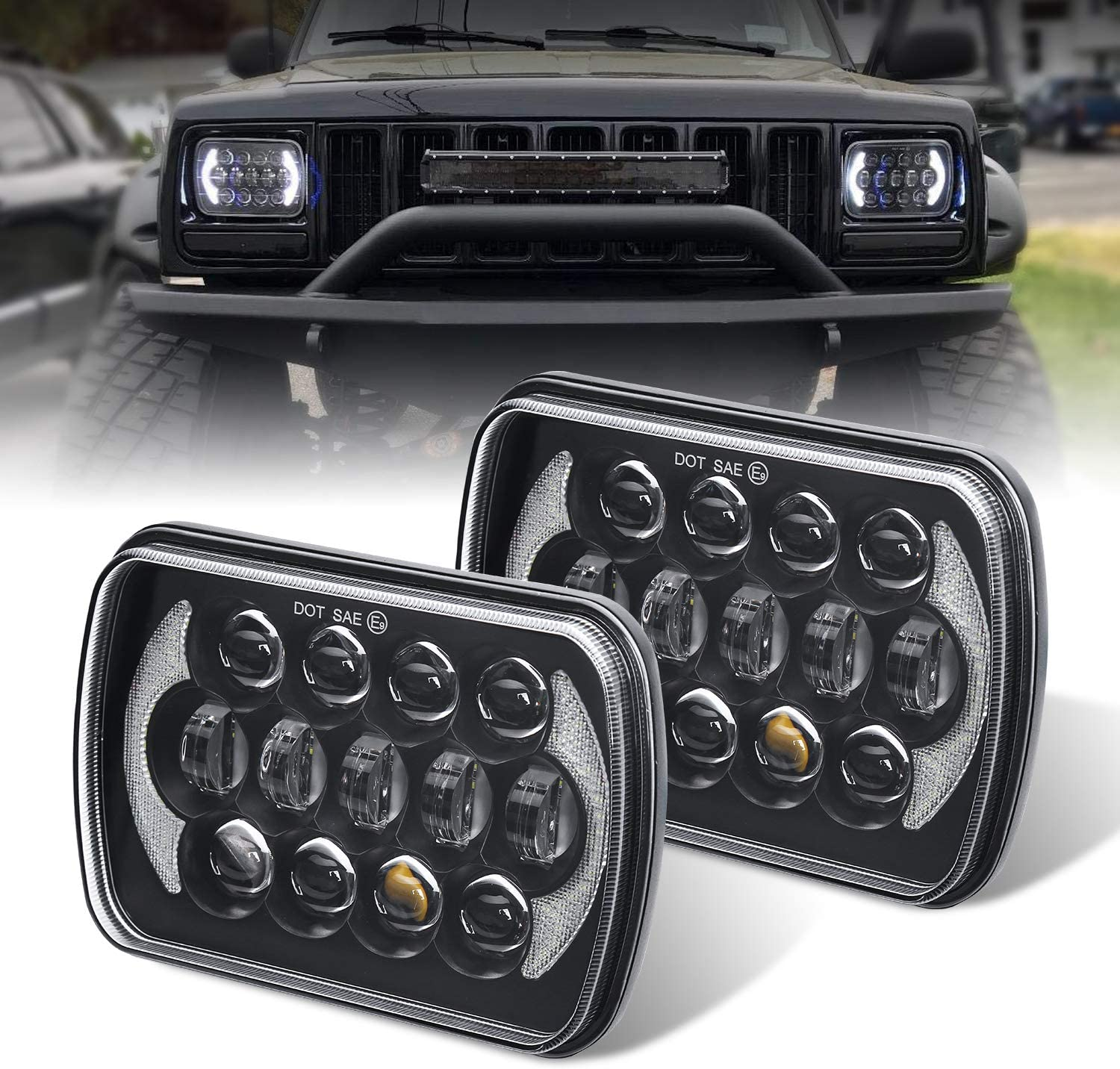 (Pair) 5''x7'' 6''x7'' High Low Beam Led Headlights for Jeep Wrangler YJ Cherokee XJ H6054 H5054 H6054LL 69822 6052 6053 with Angel Eyes DRL (Black 105w Osram Chips) 81okG3WzOCLSL1500_
