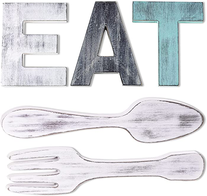Sankell EAT Sign + Fork and Spoon Kitchen Wall Decor, Rustic Multicolor Wooden EAT Letters, Large Country Wall Art EAT Decoration, Farmhouse Decorative Wall Hanging Wood Letters for Home/Dining Room