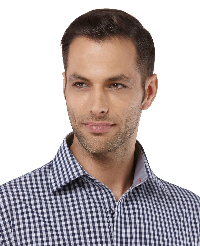 a Quadri con Inserti in Contrasto Taglio Aderente//Slim-Fit Embraer Camicia Uomo Eleganti Manica Lunga Collo Classico